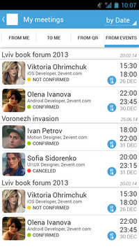 Chat of the event on your phone.